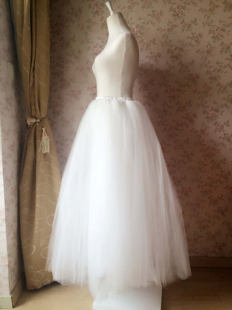 4-Layered White Tulle Skirt White Maxi Tulle Skirt Petticoat White Bridal Tutu
