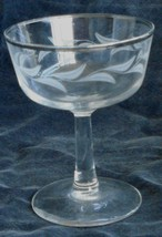Nice Vintage Etched Champagne Glass Silver Trim VERY GOOD CONDITION - $7.91