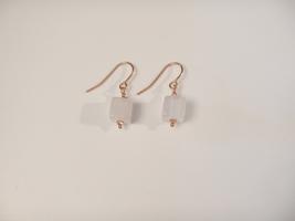 Rose Quartz Dangle Earrings, Pink Natural Gemstones, 14kt Rose Gold Ear Wires - $15.00