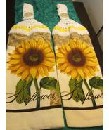 Crochet Top Kitchen Sunflowers Top White Top Yellow stripe - $10.99