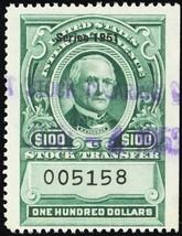 RD359, Used VF $100 Stock Transfer Stamp Cat $100.00 - Stuart Katz - $69.00