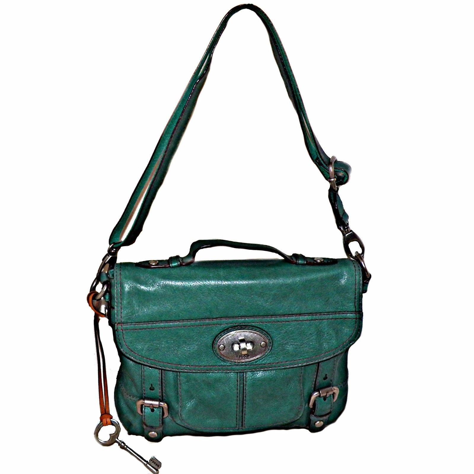 23965bb3f321 57. 57. Previous. Fossil Green Distressed Leather Maddox Messenger Crossbody  Satchel Bag ZB5032