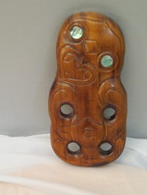 Maori Hand Carved Tiki - With Shell Eyes - Wall hang piece - $49.00