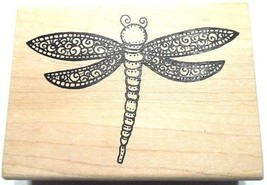 Dragonfly Rubber Stamp Flying Insect Wood Mounted A Stamp in the Hand NEW - $12.10