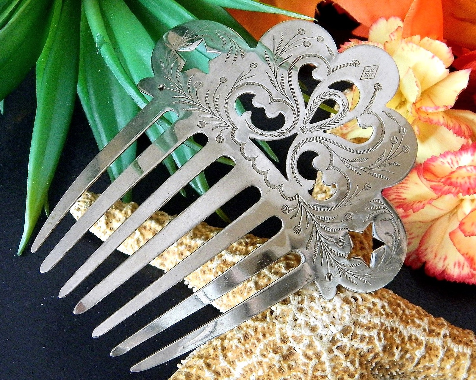 Vintage Silver Mantilla Victorian Style Hair Comb Etched Pierced Stars
