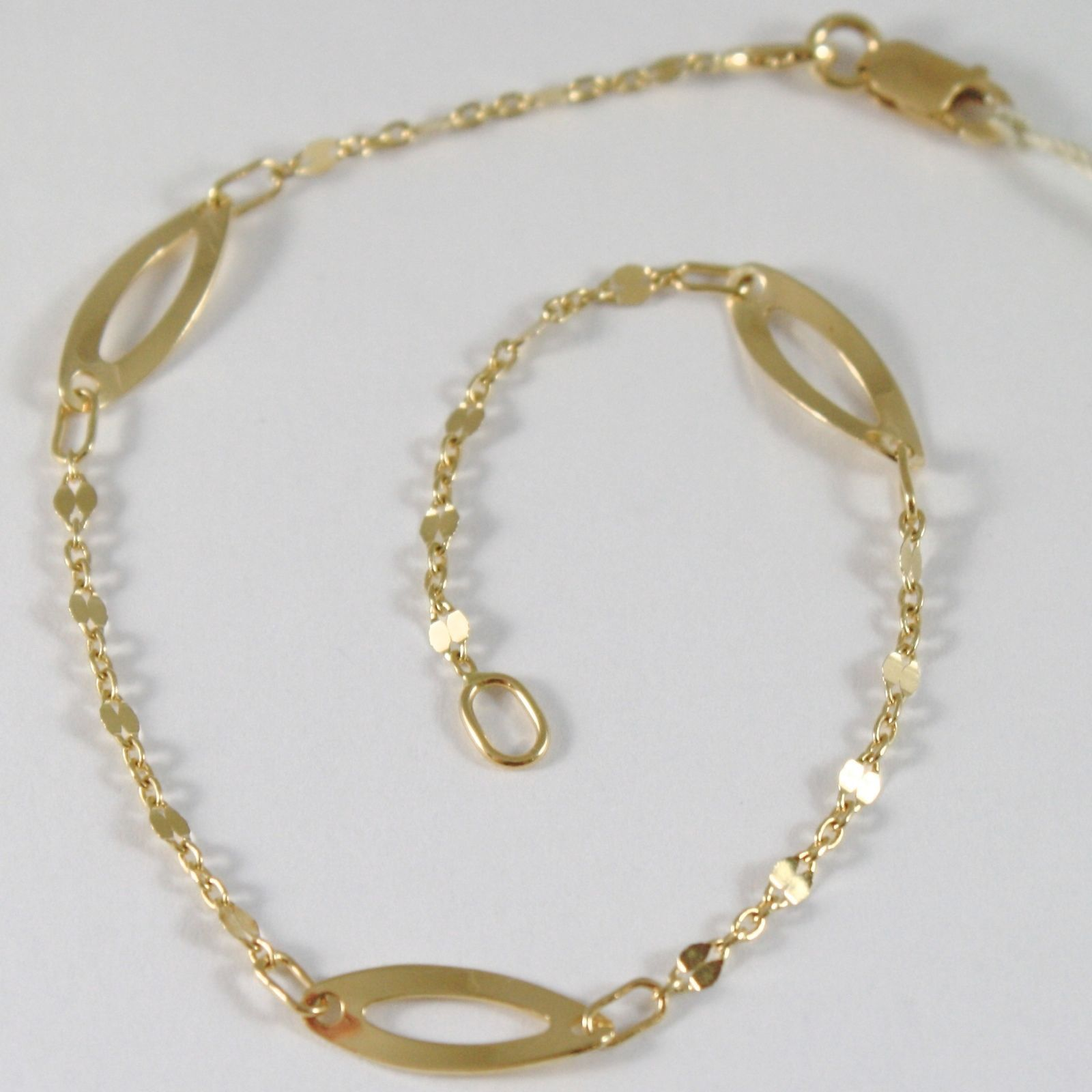 BRACELET YELLOW GOLD 750 18K WITH OVALS WAVY, 18.5 CM LENGTH