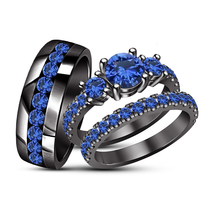 Blue Sapphire Engagement Ring His & Her Trio Set Black Gold Plated 925 S... - $164.99