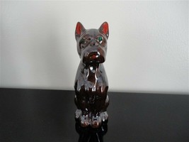 Vintage Japan Clay BOXER DOG Figurine Statue Green Jeweled Eyes 5.75 Inch - $48.15