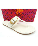 New TORY BURCH Size 10 MARSDEN Ivory Thong Logo Sandals Shoes - $179.00