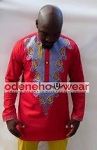 Odeneho Wear Men's Red Polished Cotton Top/Embroidery.African Clothing - $84.15+