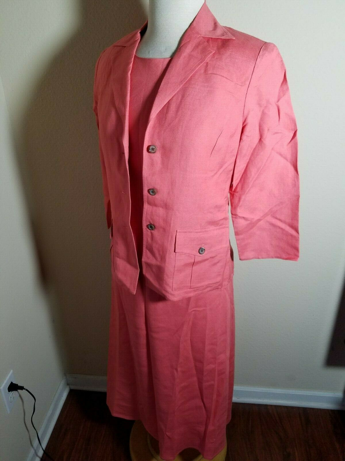 Talbots Petites Women's Dress Set Linen Blend Pink Sleeveless Maxi & Jacket 4 image 5