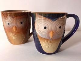 Gibson Large 17 oz Ceramic Owl Coffee Mug Set of 2 Brown & Blue - $16.70