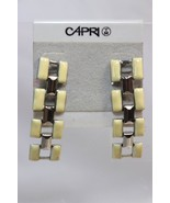 Capri Four Link Cream & Silver Tone Fashion Dangle Drop Post Earrings Vi... - $12.86
