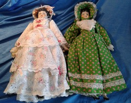 """Vintage China Head Doll LOT of 2 Black Hair 18"""" Tall Fully Clothed - $45.00"""