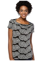 Cable & Gauge Draped Scoop Neck Black White Spiral Circles Rayon Jersey ... - $18.66