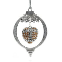 Inspired Silver 3.5 Carat Pave Football Heart Holiday Christmas Tree Ornament - $14.69