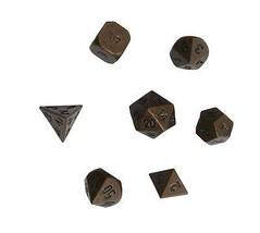 Antique Cuivre Solide Zine Alliage Polyédrique Dé Métal RPG Jeu de Rôles Dé - $11.80