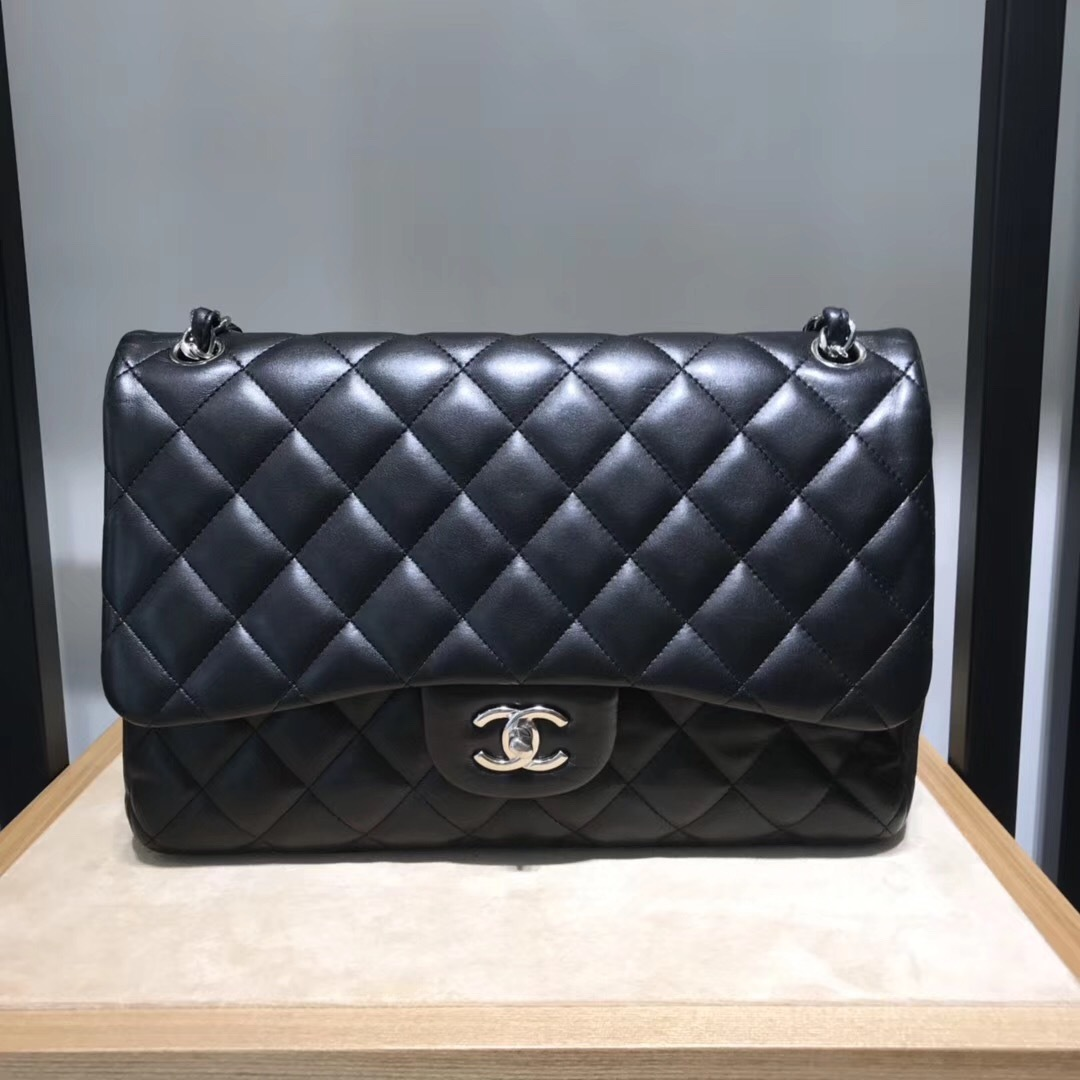 Authentic Chanel Black Lambskin Quilted