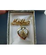 VINTAGE Mother Heart Locket Gold Tone BROOCH PIN                @5 - $24.49