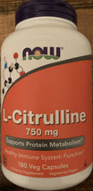 L-Citrulline 180 Caps 750 mg by Now Foods Expires 7/23 - $27.99
