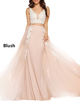Women's 2018 2 Pieces Prom Dress Lace Applique Long Formal Party Gowns C... - $108.99