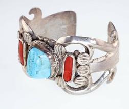 Argent Sterling Melvin Thompson Corail Et Turquoise Manchette Bracelet S... - $394.49