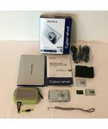 Sony Cyber Shot DSC W180 Digital Camera Silver 10.1 MP 3x Zoom Case Many... - $59.99