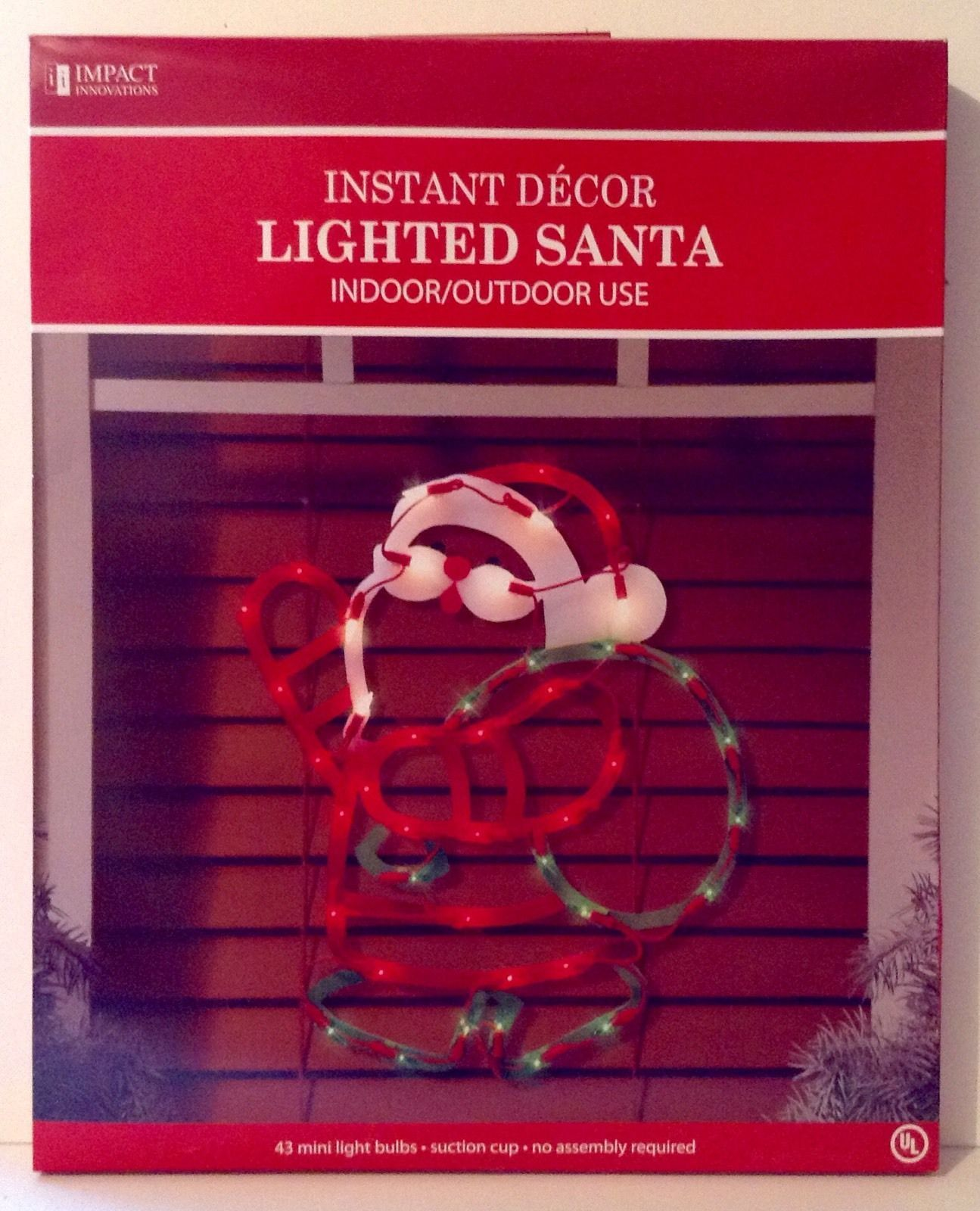 santa silhouette lighted christmas window decoration indoor outdoor use new