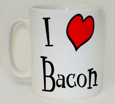 I Heart Bacon Mug Can Personalise Funny Love Breakfast Eggs Roll Sandwic... - $9.78