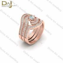 3Pc Matching Engagement Ring Set VVS-VS Clarity White Moissanite Bridal ... - £796.66 GBP
