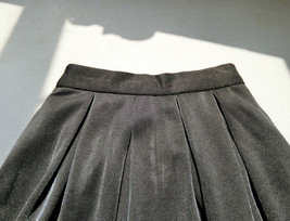 Black Midi Party Skirt Outfit Glitter Black A-line Midi Skirt High Waisted image 4