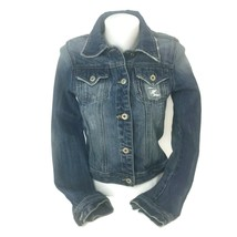 MISS ME  Women Jean Jacket Blue Denim Stretch Distressed Size Small Fits XS - $30.81