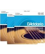 D'Addario Guitar Strings  3 pack  EJ38 12-String  Phosphor Bronze  Acoustic - $37.85