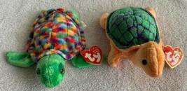 "Ty Beanie Baby Zoom Sea Turtle & Ty 2000 Peekaboo Turtle Mwm Ts Stuffed Animal 6"" - $14.84"