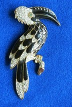 Toucan Crystal and Enamel Gold brooch / Pin - Rare Vintage 1960's - $58.41