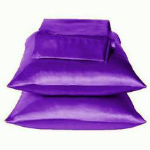 Solid Purple Charmeuse Lingerie Satin Pillowcases King - $10.99