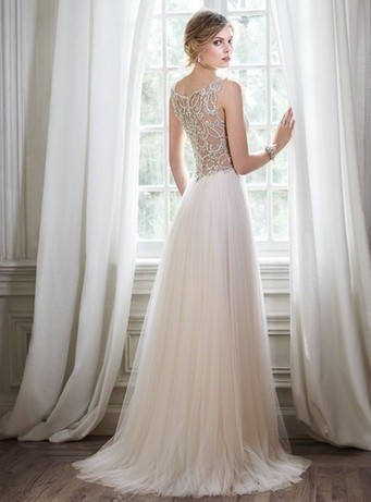 2018 beaded sexy wedding dress tulle a-line sleeveless long prom dress,HH042