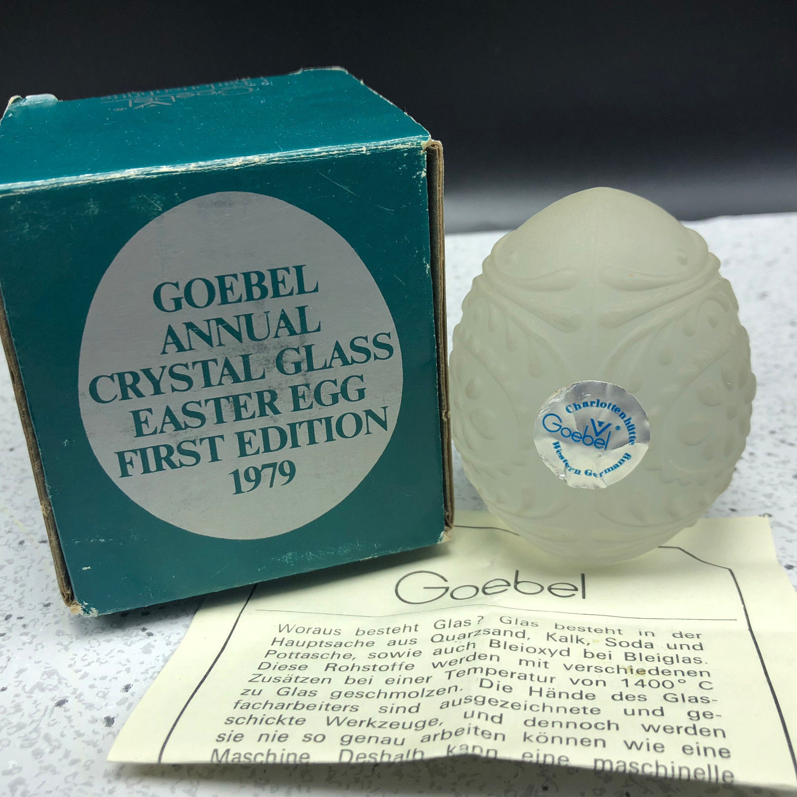 1979 GOEBEL GLASS CRYSTAL ANNUAL EASTER EGG figurine limited edition D5980 box