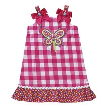 NWT Youngland Girls 4 Pink White Butterfly Summer Dress Check Checked Su... - $12.99