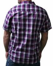 LRG Mens Interstate Short Sleeve Purple or Turquoise Woven Button Up Down Shirt image 3
