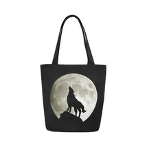 Wolf Silhouette and the Moon Canvas Tote Bag Two Sides Printing - $17.99