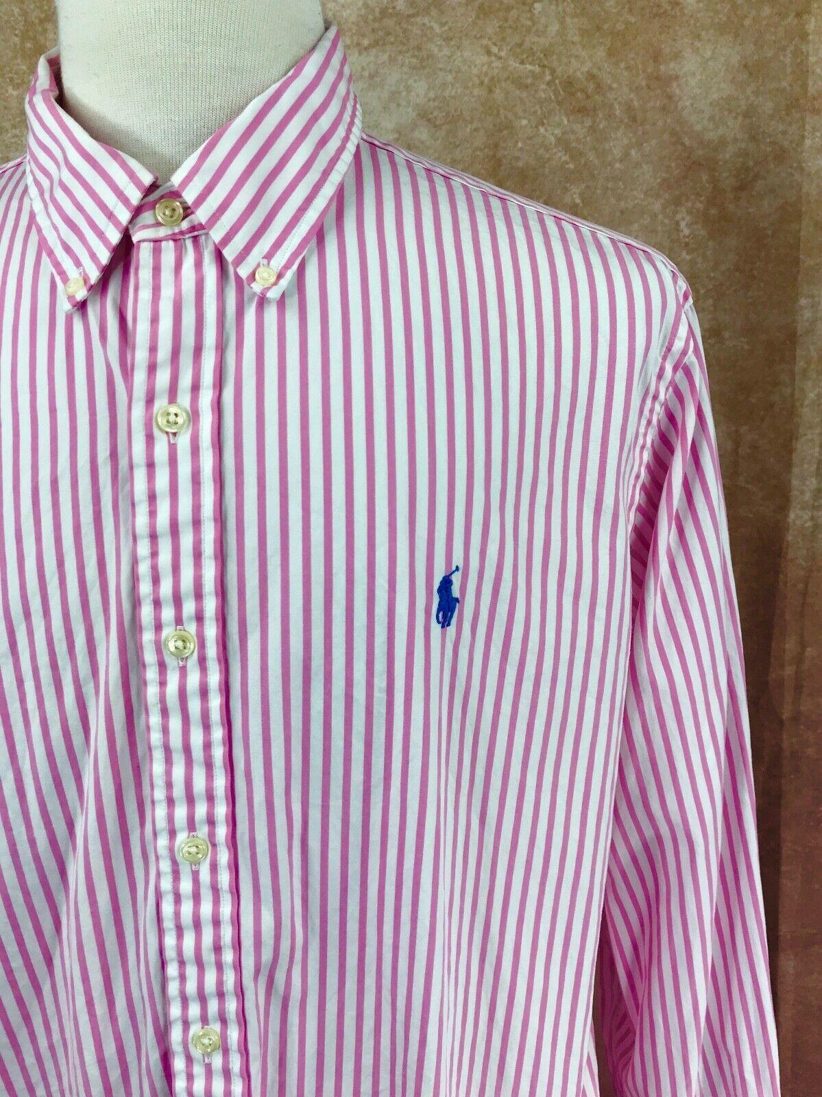 Ralph Lauren Polo Button Down Long Sleeve 100% Cotton Pink Stripe Shirt Men's XL