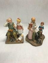 2 NORMAN ROCKWELL figurines 1980 toymaker 1981 shoemaker vintage - $39.59
