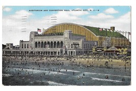 Atlantic City NJ Auditorium Convention Hall Vintage E C Kropp Postcard - $4.99