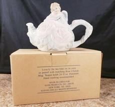 Avon Rose Cherub Angel Teapot White Version 24 OZ Porcelain No Mug 1998 - $24.23