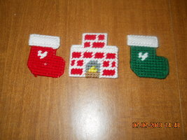 HANDMADE PLASTIC CANVAS CHRISTMAS MAGNETS SET OF 3 - $2.75