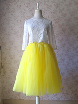 Yellow Puffy Midi Tulle Skirt Plus Size Tulle Tutu Skirt 6-layered Yellow Skirt  image 6