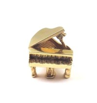 14k Yellow Gold Vintage 3D Piano Charm With Movable Cover - $289.85