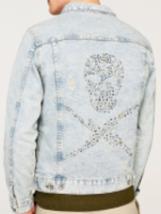 Zara Rare Studded Skull Denim Jacket Bnwt Light Blue Bnwt L - $70.43
