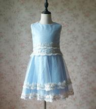 Light-blue Lace Tutu High Waist Dress Blue Flower Girl Dress Birthday Dress NWT image 3